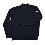 Organic Navy 1/4 Zip Knitted Sweater