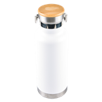 White Insulated Bottle with Wooden Lid
