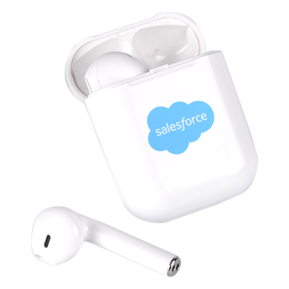 White Wireless Ear Buds with Wireless Charging Case